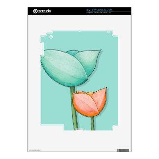 Simple Flowers teal iPad 2 Skin