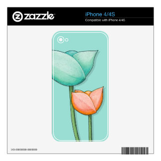 Simple Flowers teal iPhone 4/4S Skin Decal For iPhone 4S