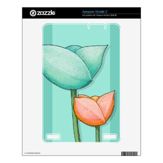Simple Flowers teal Kindle 2 Skin