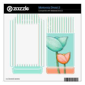 Simple Flowers teal Motorola Droid 2 Skin