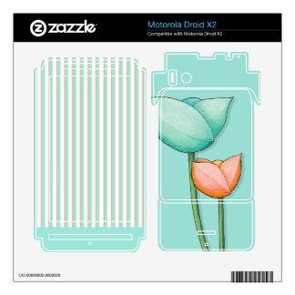 Simple Flowers teal Motorola Droid X2 Skin
