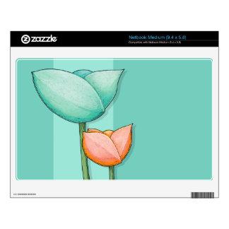 Simple Flowers teal Netbook Medium Skin Skin For Medium Netbook