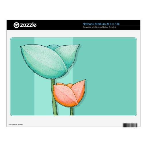 Simple Flowers teal Netbook Medium Skin Netbook Skin