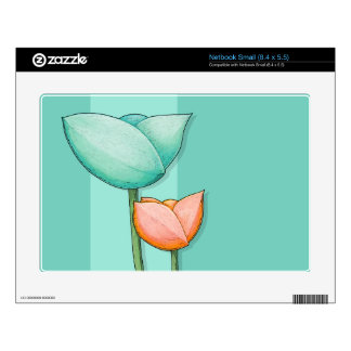 Simple Flowers teal Netbook Small Skin Skin For Netbook