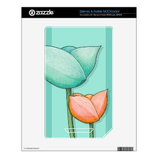Simple Flowers teal NOOKcolor Skin Skins For NOOK Color