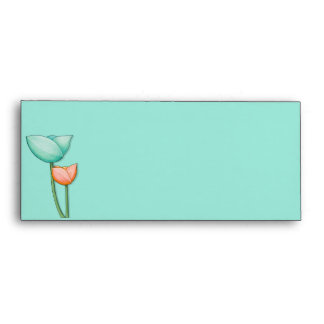 Simple Flowers teal orange 10 Letterhead Envelope