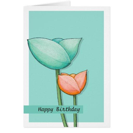 Simple Flowers teal orange 2 Birthday Card