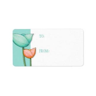 Simple Flowers teal orange 2 Gift Tag
