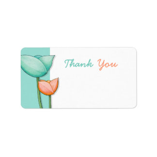 Simple Flowers teal orange 2 Thank You Tag