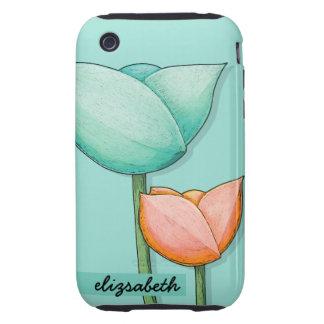 Simple Flowers teal orange 3G/3GS TOUGH Case iPhone 3 Tough Case