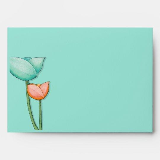 Simple Flowers teal orange A7 Card Envelope