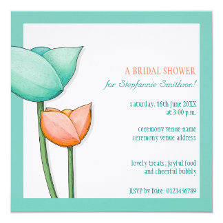 Simple Flowers teal orange Bridal Shower Square 5.25x5.25 Square Paper Invitation Card