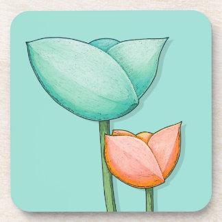 Simple Flowers teal orange Coaster