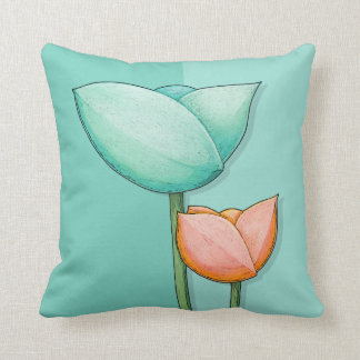 Simple Flowers teal orange Cushion Pillow