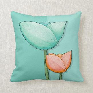 Simple Flowers teal orange Cushion Pillow