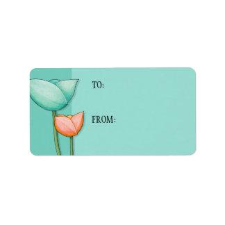 Simple Flowers teal orange Gift Tag