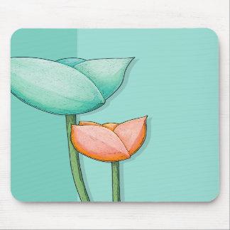 Simple Flowers teal orange Mousepad