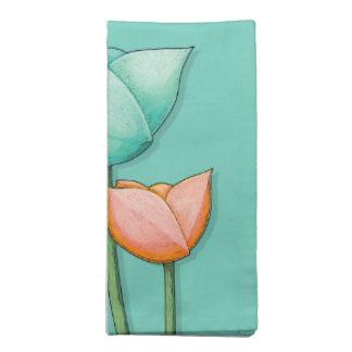 Simple Flowers teal orange Napkin