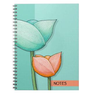 Simple Flowers teal orange Notebook