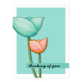 Simple Flowers teal orange Postcard