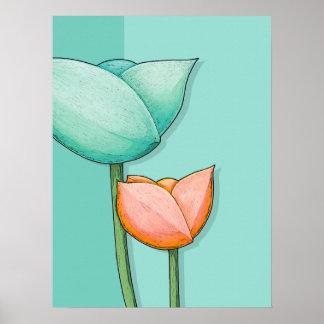 Simple Flowers teal orange Poster