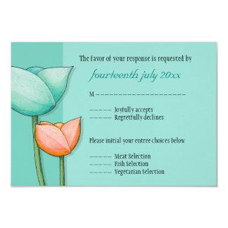 Simple Flowers teal orange RSVP Card