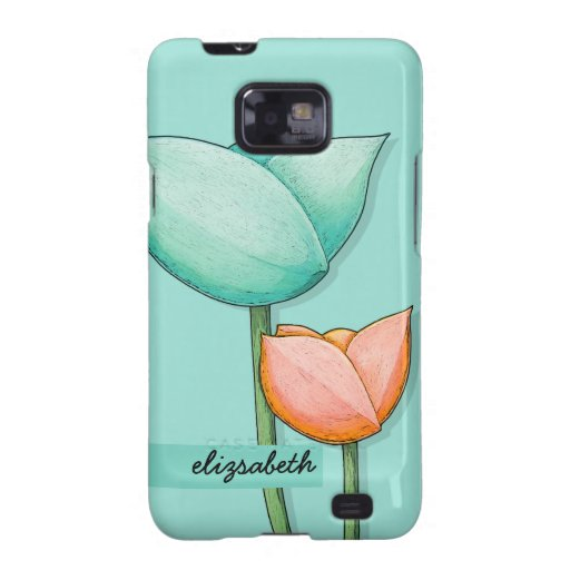 Simple Flowers teal orange Samsung Galaxy S Samsung Galaxy S2 Covers