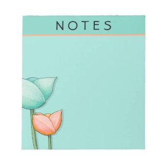 Simple Flowers teal orange Small Notepad
