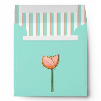 Simple Flowers teal orange Square Envelope envelope