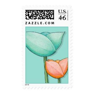Simple Flowers teal orange Stamp stamp