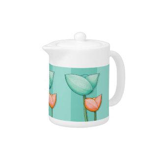 Simple Flowers teal orange Teapot