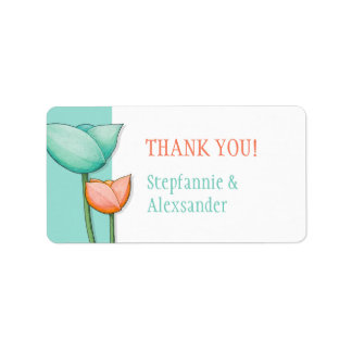 Simple Flowers teal orange Thank You Tag