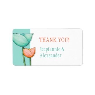 Simple Flowers teal orange Thank You Tag label