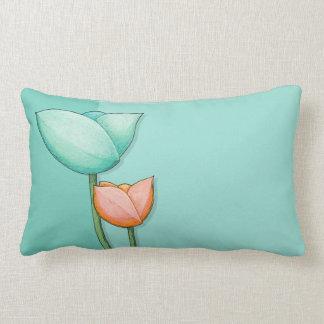 Simple Flowers teal orange Throw Pillow