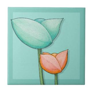 Simple Flowers teal orange Tile