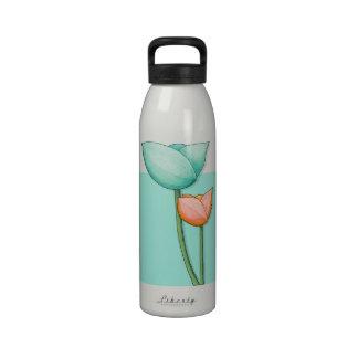 Simple Flowers teal orange Water Bottle