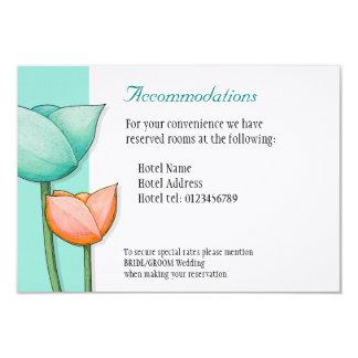 Simple Flowers teal orange Wedding Enclosure Card