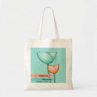 Simple Flowers teal orange Wedding Gift Bag