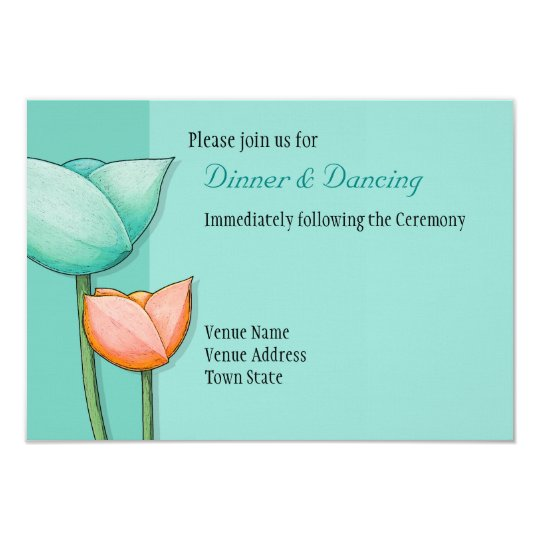 Simple Flowers teal orange Wedding Reception Card