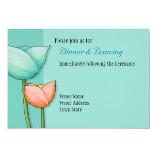 Simple Flowers teal orange Wedding Reception 3.5x5 Paper Invitation Card