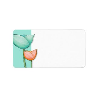Simple Flowers teal orange white Address Label label