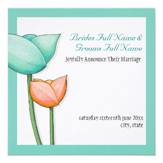 Simple Flowers teal orange white Announcement
