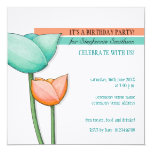 Simple Flowers teal orange white Birthday Invite