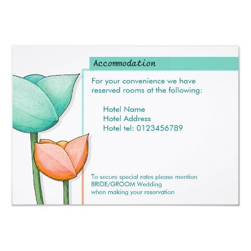 Simple Flowers teal orange white Wedding Enclosure Card