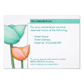 Simple Flowers teal orange white Wedding Enclosure 3.5x5 Paper Invitation Card