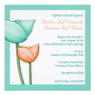 Simple Flowers teal orange white Wedding 5.25x5.25 Square Paper Invitation Card