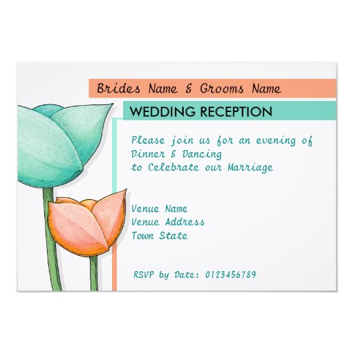 Simple Flowers teal orange white Wedding Reception Card