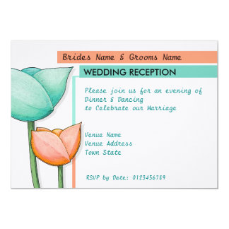 Simple Flowers teal orange white Wedding Reception 5x7 Paper Invitation Card