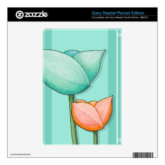 Simple Flowers teal Reader Pocket Edition Skin Decal For The Sony Reader