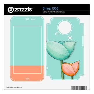 Simple Flowers teal Sharp IS03 Skin